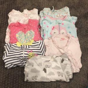 0-3 months pajamas lot